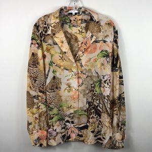 Escada Silk Blouse Cheetah Floral Print Shirt 40